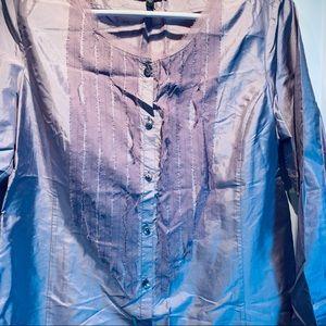 Eileen Fisher purple silk pleated front blouse